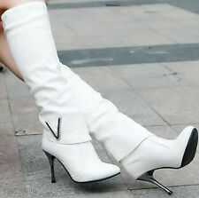 Women's Synthetic Leather High Heel Rhinestone Knee High Boots Shoes AU All Size