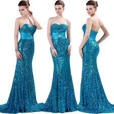 NEW Strapless Sequins Bridesmaid Wedding Ball Gown Evening Prom Party Long Dress