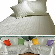 White Quilted Bedspread Throws & Filled Cushion Covers Large Small Blanket Bed