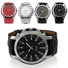 LUXURY SPORT MENS BOYS LARGE SIZE DIAL LEATHER BAND QUARTZ WRIST WATCH NEW B62K