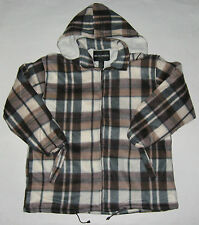 Mens Sherpa Lined Flannel Fleece Zipper Hooded Windbreaker Brown Checker NEW