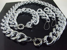 "17"" 18""20""-30""CUT SILVER GOLD ALUMINIUM CURB LINK CHAIN NECKLACE BRACELET CHOKER"