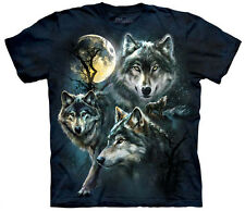 Moon Wolves Collage Adult  Animals Unisex T Shirt The Mountain