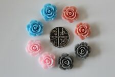 10 Resin Rose Flower Floral Flatback Embellishments Cabochons 15mm