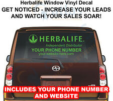 HERBALIFE Car Window Decal Sign YOUR PHONE # AND WWW -GET NOTICED,