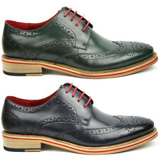 Justin Reece Leather Brogues Navy Green Shoes UK 6 7 8 9 10 11 12 EU Brand New