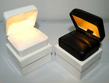 BEST- Qlty Leatherette-Lighted Ring Box Engagement/Wedding Box .USA Seller
