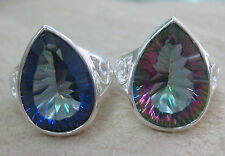 925 STERLING SILVER REAL pear PURPLE BLUE MYSTIC TOPAZ FILIGREE RING SIZE N P R