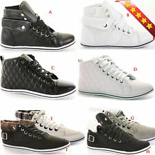 LADIES HIGH HI TOP GIRLS FLAT LACE UP SPORTS WOMENS PUMPS TRAINERS SHOES SIZE