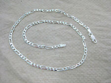 MADE IN ITALY 925 STERLING SILVER 1 + 3 LINK FIGARO BRACELET 7' 8' 9' 10' UNISEX