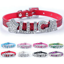 Bling Personalized PU Leather Puppy Dog Cat Collars Customized Free Name Charm