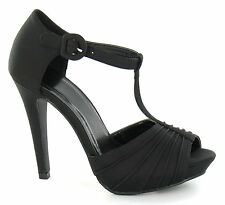 LADIES BLACK SATIN HEELED SANDALS  SHOES -F1587