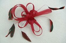 COILED NET & FEATHER FASCINATOR ON CLEAR COMB - VARIOUS COLOURS