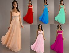 New Chiffon Cap Sleeve Formal Prom Party Bridesmaid Evening Dress Stock Size6-16