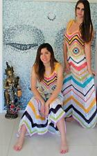 CROCHET RAINBOW & White Boho GYPSY CHEVRON Vintage Style Festival MAXI Dress