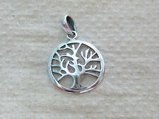 925 STERLING SILVER OXIDISED PLAIN TREE OF LIFE ROUND PENDANT WOMEN TEEN GIRL
