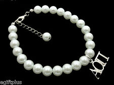 ALPHA OMICRON PI Greek Sorority 8mm White Glass Pearl Bracelet wExtender #FBR949