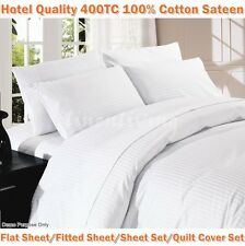 400TC 100% Cotton Sateen White 1CM Stripe Single/King Single/Double/Queen/King