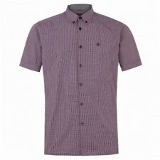 Mens Merc Ambrose Red & Navy Blue Check Fitted Short Sleeve Shirt (NEW) RRP £50