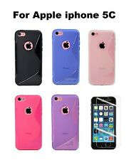 Apple iPhone 5C TPU Soft Silicone Skin Cover Case + Screen Protector