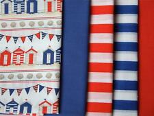 BEACH HUT house NAUTICAL kids party fun POLYCOTTON FABRIC for craft bunting
