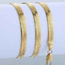 3.5/5.5/5.5MM Herringbone Link MENS Chain Unisex Yellow Gold Filled GF Necklace