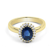 18ct Yellow Gold Blue Sapphire & Diamond Halo Engagement Ring 0.16ct 2.5mm