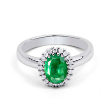 18ct White Gold Emerald & Diamond Halo Engagement Ring 0.16ct 2.5mm