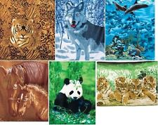 Animal Fleece Throw  Wildlife Blanket  Wolf,Tiger,Cubs,Dolphins,Horses,Panda,cat
