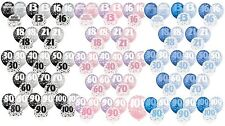 BIRTHDAY GLITZ PARTY PACK OF 6 LATEX BALLOONS PINK BLUE or BLACK AGES 13 -100
