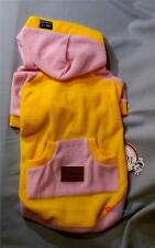 Pet Puppy Dog Clothes - Yellow Sweatshirt with Pink Hoodie and Paw Warmer