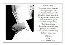 ♥ Personalised Wedding Day Poem Gift ♥ To the new IN LAWS of the Bride ♥