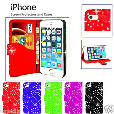 LEATHER DIAMOND Sparkle Bling FLIP MAGNETICA COVER IPHONE 4 4S 5 / 5S 5C 6 PLUS