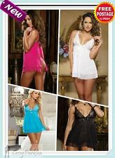 Bridal Mesh Lace Babydoll Camisoles Lingerie w/Gstring Blue Black White Hot Pink