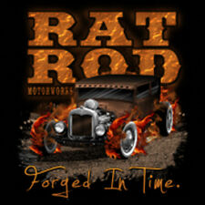 Hot Rat Rod Car Forged In Time Flames T-SHIRT Tee