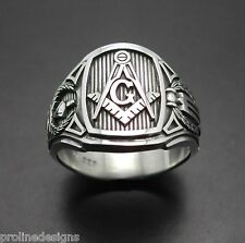 STERLING SILVER .925 MASONIC RING CIGAR BAND STYLE 026