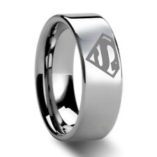8mm Mens Superman Tungsten Carbide Ring Engagement Wedding Band