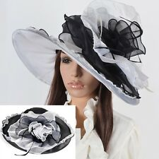 Women Formal Church Derby Dress Hat Large Wide Brim Hat Organza