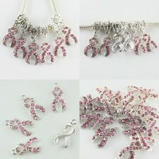Wholesale Pink Crystal Ribbon Breast Cancer Awareness Loose/Charm Pendant Beads