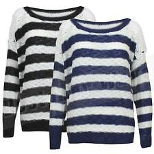 Ladies Womens Nautical Stripe Jumper Crochet Back Top Navy Cream Knitted Sweater