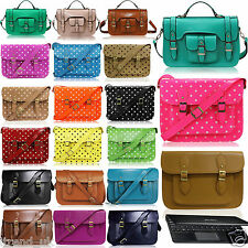 Polka Dot Leather Vintage Style Work Briefcase Satchel Shoulder Messenger Bag
