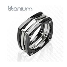 Men's solid titanium ring with IP Black Squared with Bolts wedding band