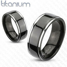Titanium Center Grooved Two Tone Black IP Couple Wedding Band Mens Ring