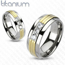 Solid titanium men's ring Gold IP Grooved Center CZ wedding band engagement ring