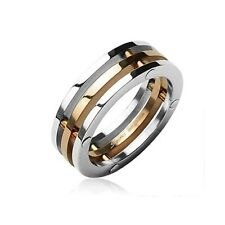 Stainless Steel Men's Rings 3 Connected Pieces Rose IP Gold Center Band