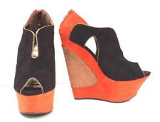 Liliana Brown/Org Faux Suede Platform Wedge Sexy Womens Zip Shoes IMOLA-3