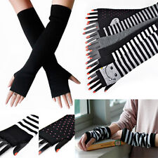 fashion girl women Knitting stripe fingerless long gloves half finger gloves G-4