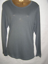 Ladies M&S Grey Long Sleeve T-Shirt Size 8-10-12-14-16