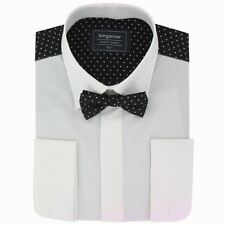 Mens Dress Shirt With Patterned Back - Black and White Pin Dot