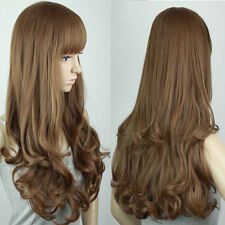 Fashion Long Womens Curly with Fringe Hair Full Wigs 4 Colors Girls Vogue Wavy